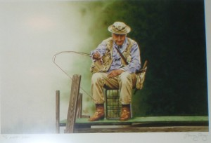 John Voelker (Robert Traver) in his natural habitat. Painting by the gifted trout fisherman, Larry Cory. It has hung over my desk for years and years and always provides inspiration -- for fishing if not for writing....