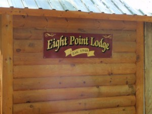 Eight Point Lodge, as the camp sign looks today.