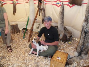 Kelly and Lucy, inside the teepee