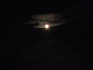 Moon in the Clouds Over Muskallonge
