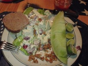 Curried chicken salad with walnuts and grapes.