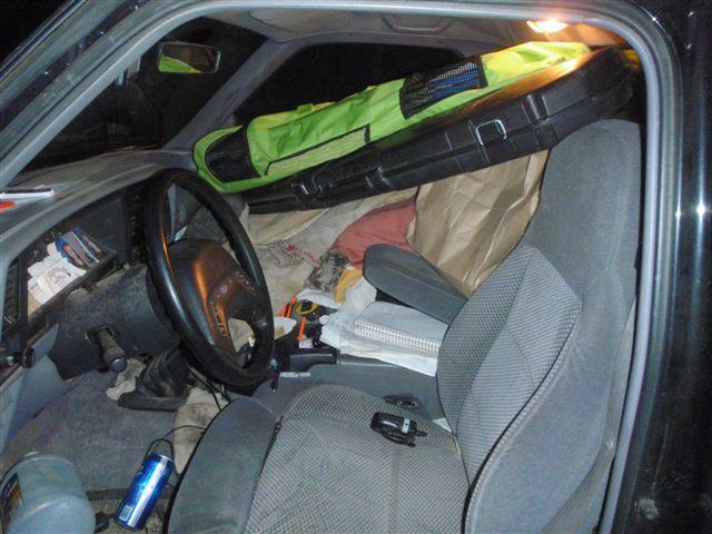 Drunktruck. Beers on floor, weapons in cab. Bad combos.