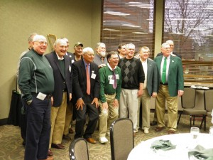 Originals -- on all counts. The men of the 1963-1965 teams, 50 years later. Banquet last night in the Lincoln Room at the Kellogg Center. MSU trustee, former football coach George Perles joined us. MSU athletic directors Biggie Munn and George Perles were lacrosse's greatest supporters and there will always be a warm spot for both men because of this.