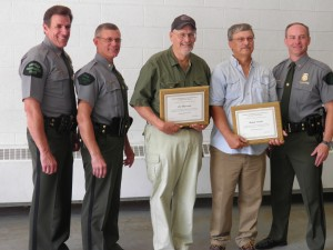 From left: Capt. DanHopkins, Asst Chief Dean Molnar, Ishkabibble, Randy Clarke, and Chief Gary Hagler. Fellow awardee Randy Clarke is historian, naturalist, world class decoy carver, and has been working with the DNR since 1970s teaching all recruits waterfowl ID.