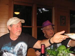 Passing the chow at Bullshido Fish Camp, Bob Peterson and Lars Hjalmquist, akq Da Sweditch Brudders.
