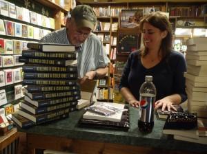 Signing stock for Snowbound Books Owner Dana Schultz.