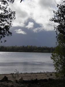 Snow squalls over Muskallonge Lake