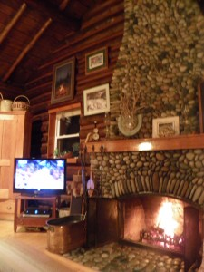 Brown's warm and  cosy cabin.