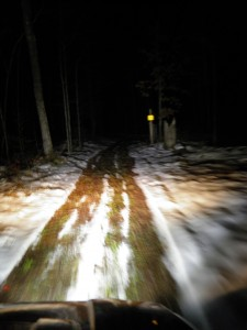 At night on the four-wheeler.