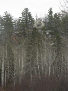 How's this for a hunting camp with a view. The place is on the precipice of a 150 foot bluff, and straight up.