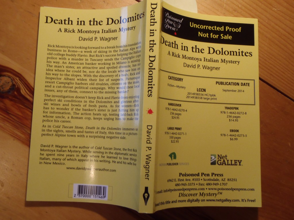 David P. Wagner's Second Rick Montoya Italian Mystery, Death in the Dolomites.