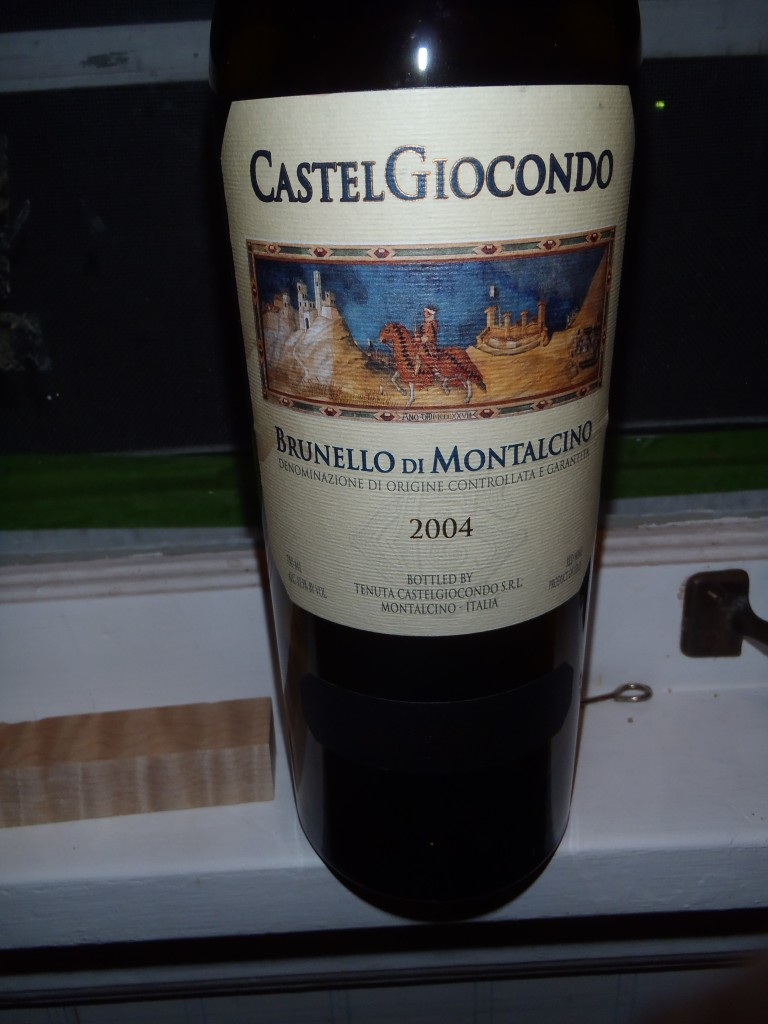 Real pals bring great wines. Mike Vairo visited this week and brought a bottle of Brunello de Montalcino, my favorite.