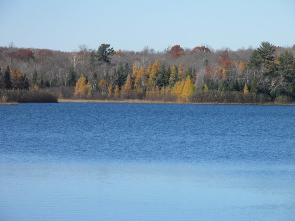 Indian lake, iron County, Tammies smiling across the lake.