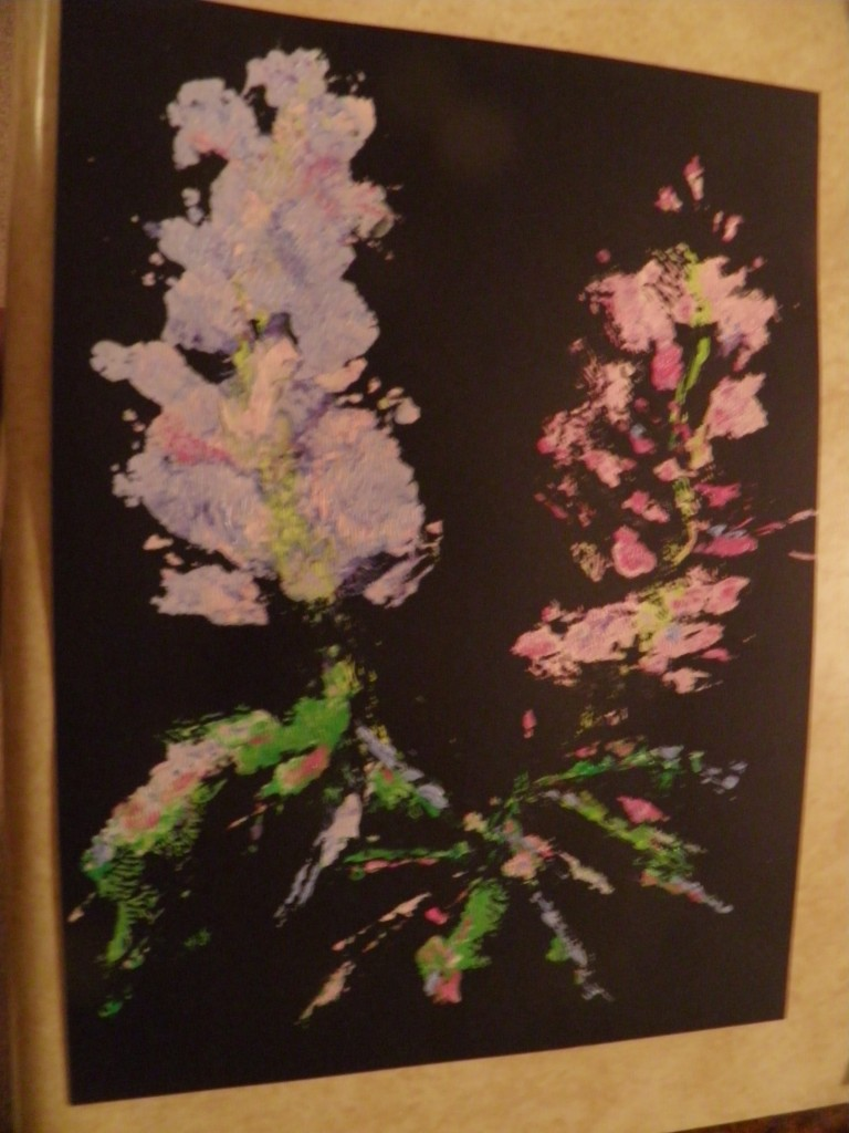 Lonnie's printing work -- an method she invented. This is called Night Lupines. and is now in the collection of Mike and Sue Webster.