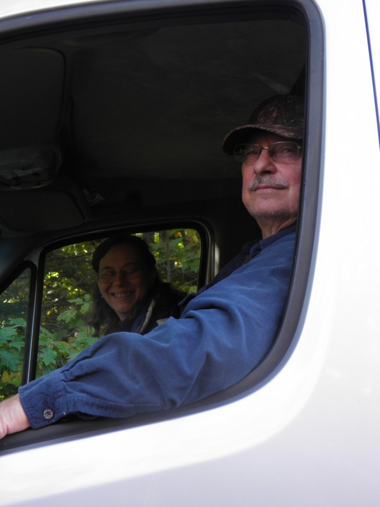 Sally and Randy Clarke in the Clarkemobile Pilot House