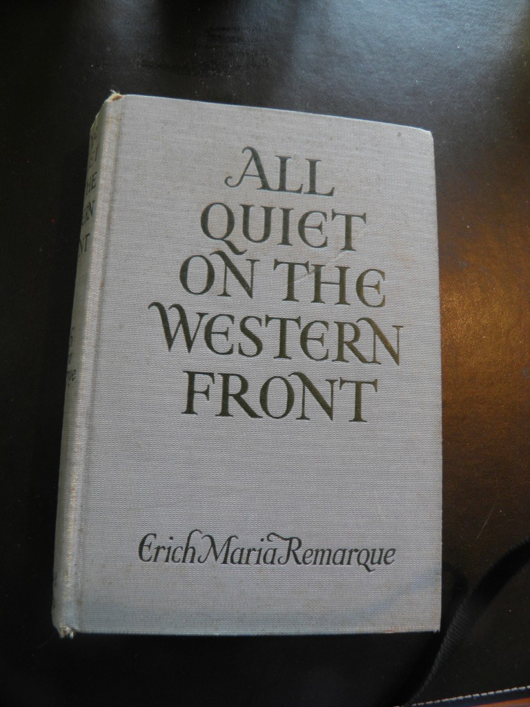 Erich Maria Remarque's All Quiet on the Western Front, written in 1927 and published in Germany in 1929 then translated into English and published in the U.S. the same year. Remarque had trouble finding a publisher because of the explosiveness of the content, but the book became a massive best-sller.